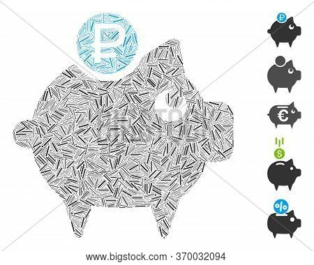 Hatch Mosaic Based On Rouble Piggy Bank Icon. Mosaic Vector Rouble Piggy Bank Is Formed With Randomi