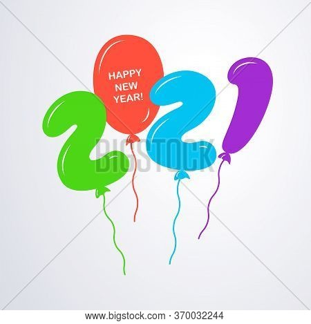 2021 Happy New Year Logo Text Design. Numbers 2021 In The Form Of Flying Multicolored Helium Balloon