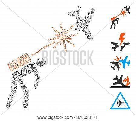 Dash Mosaic Based On Terrorist Strikes Aircraft Icon. Mosaic Vector Terrorist Strikes Aircraft Is Cr