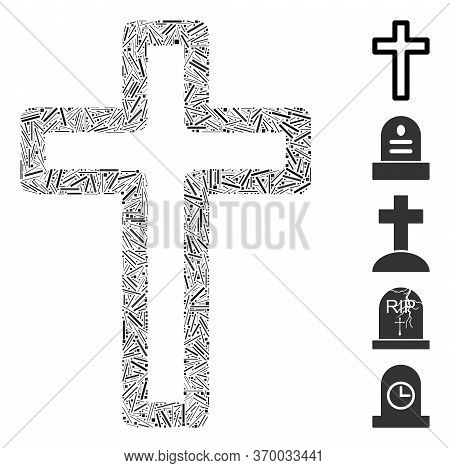 Hatch Mosaic Based On Tomb Cross Icon. Mosaic Vector Tomb Cross Is Designed With Randomized Hatch El
