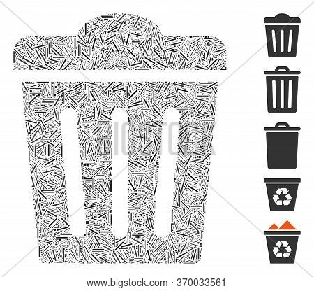 Line Mosaic Based On Trash Can Icon. Mosaic Vector Trash Can Is Formed With Scattered Line Items. Bo