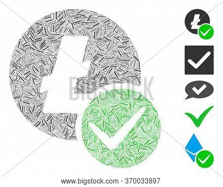 Hatch Mosaic Based On Valid Litecoin Icon. Mosaic Vector Valid Litecoin Is Designed With Random Line