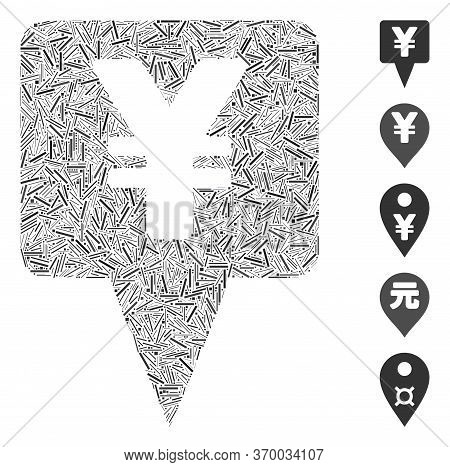 Dash Mosaic Based On Yen Map Pointer Icon. Mosaic Vector Yen Map Pointer Is Composed With Randomized