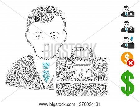 Line Mosaic Based On Yuan Renminbi Accounter Icon. Mosaic Vector Yuan Renminbi Accounter Is Created