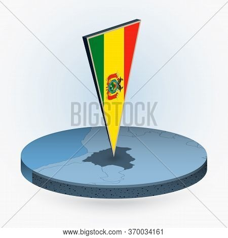 Bolivia Map In Round Isometric Style With Triangular 3d Flag Of Bolivia, Vector Map In Blue Color.