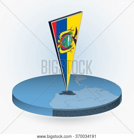 Ecuador Map In Round Isometric Style With Triangular 3d Flag Of Ecuador, Vector Map In Blue Color.
