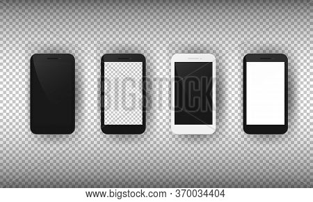 Realistic Smartphone Mockup Set. Mobile Phone With Blank Screen. Cell Phone Display Front View Mocku
