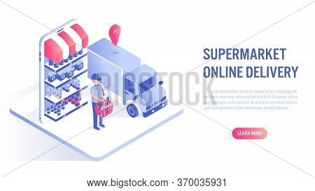 Shopping In Supermarket Online On Website Or Mobile Application Concept. Fast Delivery. Vector Illus