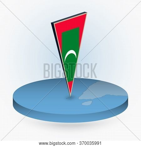 Maldives Map In Round Isometric Style With Triangular 3d Flag Of Maldives, Vector Map In Blue Color.
