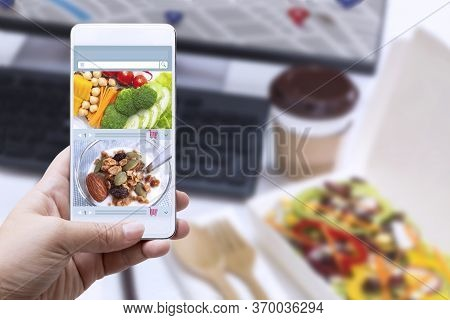 Food Delivery Service Ready Meal. Woman Working From Home With Laptop And Making Online Order Shoppi