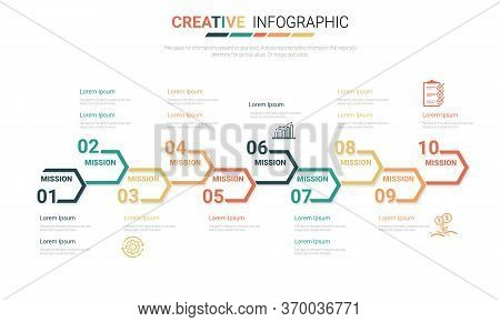 Timeline Infographics Template, Vector Infographics Timeline Design Template With 10 Label.