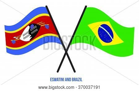 Eswatini And Brazil Flags Crossed And Waving Flat Style. Official Proportion. Correct Colors.