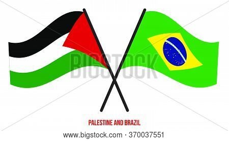 Palestine And Brazil Flags Crossed And Waving Flat Style. Official Proportion. Correct Colors