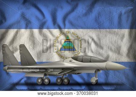 Fighter, Interceptor On The Nicaragua Flag Background. 3d Illustration