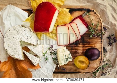Set of aged Cheese, brie, camembert with fruit and herbal on wooden and craft paper background