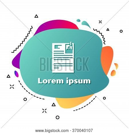 White Lawsuit Paper Icon Isolated On White Background. Abstract Banner With Liquid Shapes. Vector Il