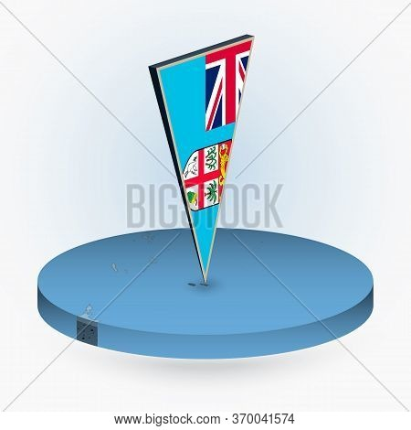 Fiji Map In Round Isometric Style With Triangular 3d Flag Of Fiji, Vector Map In Blue Color.