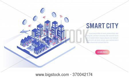 Smart City On Mobile Isometric Flat Vector Concept. Building Automation With Computer Networking Ill