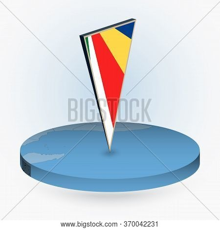 Seychelles Map In Round Isometric Style With Triangular 3d Flag Of Seychelles, Vector Map In Blue Co