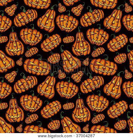Halloween Pumpkins vector seamless pattern
