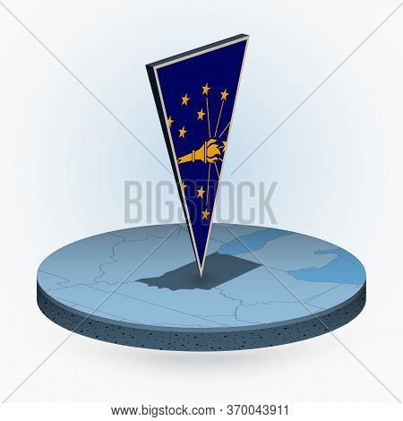 Indiana Map In Round Isometric Style With Triangular 3d Flag Of Us State Indiana, Vector Map In Blue