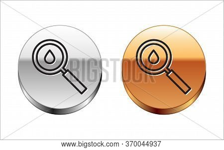 Black Line Oil Drop Icon Isolated On White Background. Geological Exploration, Geology Research. Sil