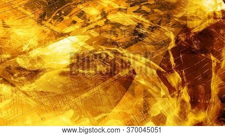 Shiny Gold Metal Texture Glimmering With Light Rays - Abstract Background Texture