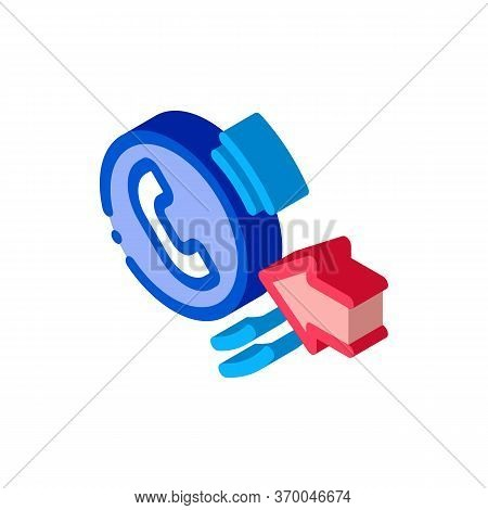 Help Desk Incoming Call Icon Vector. Isometric Help Desk Incoming Call Sign. Color Isolated Symbol I