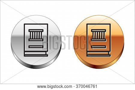 Black Line Law Book Icon Isolated On White Background. Legal Judge Book. Judgment Concept. Silver-go