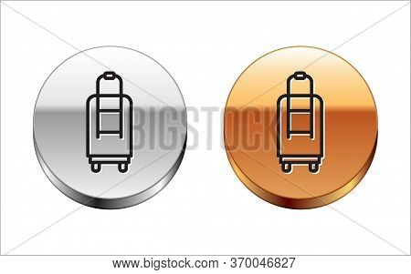 Black Line Suitcase For Travel Icon Isolated On White Background. Traveling Baggage Sign. Travel Lug