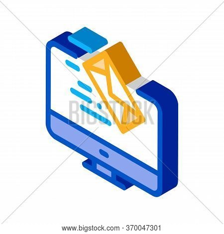 Received Letter To Computer Icon Vector. Isometric Received Letter To Computer Sign. Color Isolated