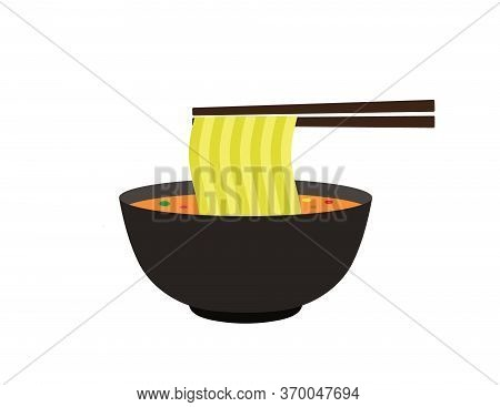 Bowl Of Noodle Illustration. Noodle Vector Icon Isolated On White Background For Web,mobile,ui