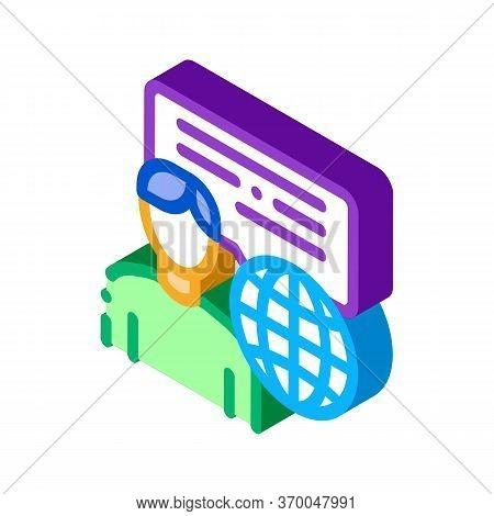 Travel Company Representative Icon Vector. Isometric Travel Company Representative Sign. Color Isola