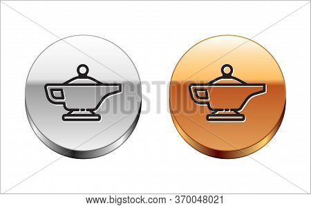 Black Line Magic Lamp Or Aladdin Lamp Icon Isolated On White Background. Spiritual Lamp For Wish. Si