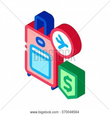 Purchase Suitcases With Handle Duty Free Icon Vector. Isometric Purchase Suitcases With Handle Duty