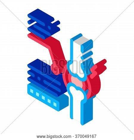 Study Of Bone Arthritis Icon Vector. Isometric Study Of Bone Arthritis Sign. Color Isolated Symbol I