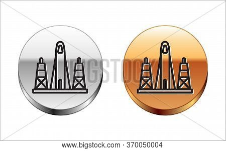 Black Line Rocket Launch From The Spaceport Icon Isolated On White Background. Launch Rocket In Spac