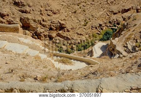 Stone, Old Steps Descend Into The Gorge Of The Kedron Stream Israel, Palestine. Near The Monastery O