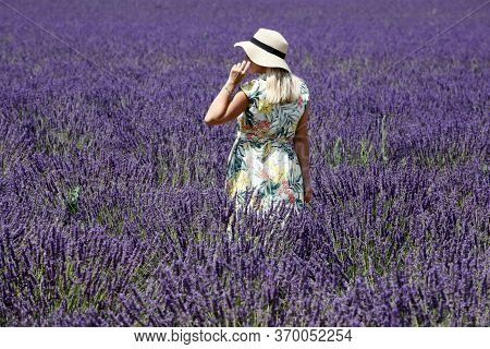 Valensole, France - July 8, 2018: Woman In A Lavender Field In Valensole, Provence, France