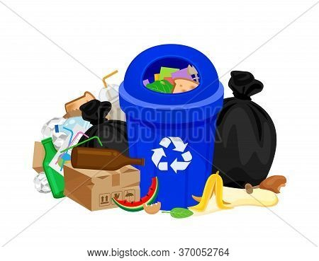 Garbage Waste And Bag Plastic At Blue Recycle Bin Isolated On White, Pile Plastic Garbage Waste Many