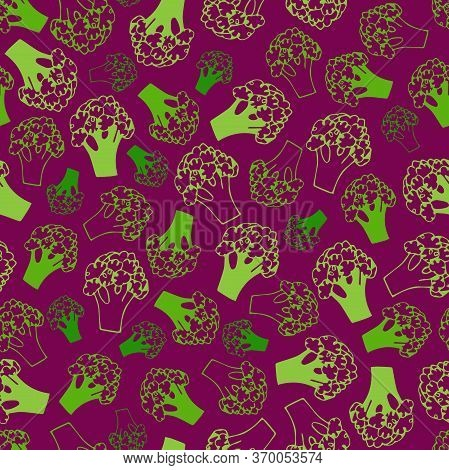 Broccoli Doodle Seamless Pattern. Background With Vegetables. Vector Illustration. Broccoli Isolated