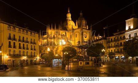 Night View Of Segovia Cathedral - Roman Catholic Religious Church In Segovia, Spain