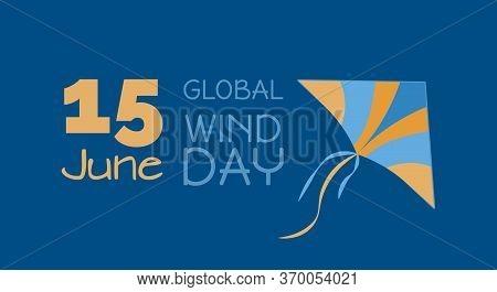 Ecological Energy - 15 June Global Wind Day, Kite, Vector Illustration