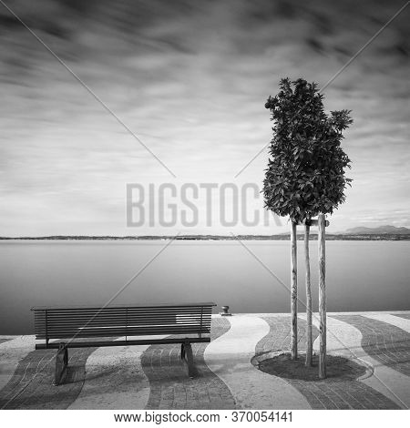 Waterfront At Lake Gardasee In Italy, Europe, In Autumn