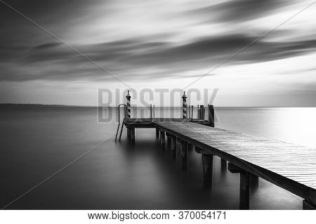Jetty At Lake Gardasee In Italy, Europe