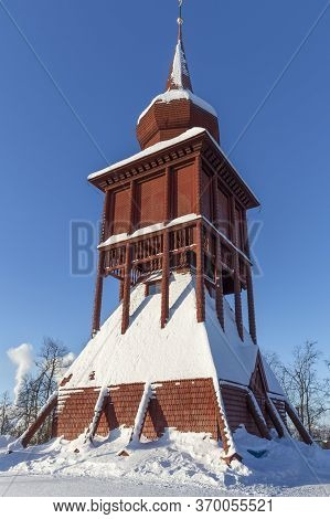 Historic Church Steeple In The Town Of Kiruna, Sweden