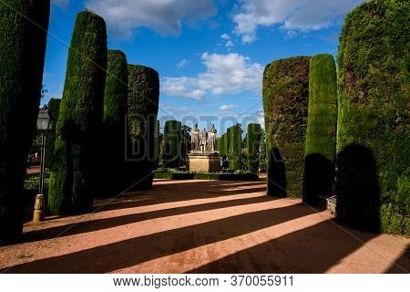 View Of The Garden In The Alcazar Of Cordoba. Andalucia. Spain.