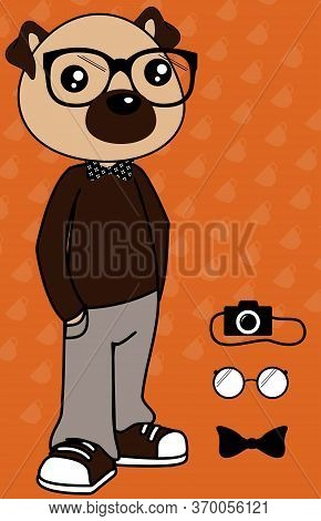 Hipster Pug Dog Cartoon Set Collection In Vector Format