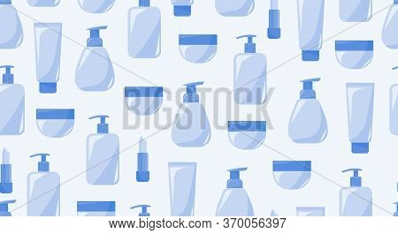 Monochrome Seamless Pattern Of Cosmetics Products. Every Day Care For Face And Body. For Print