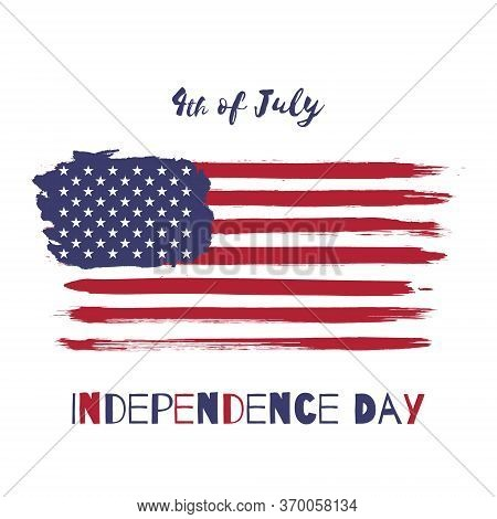 Happy Independence Day. 4th Of July, United States Of America Vector Watercolor National Flag Icon.